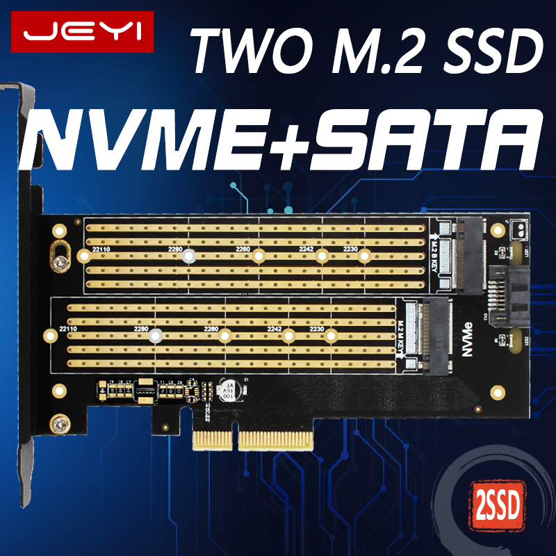 JEYI SK6 <font><b>M.2</b></font> NVMe SSD NGFF TO PCIE X4 <font><b>adapter</b></font> M Key B Key dual interface card Suppor <font><b>PCI</b></font> Express 3.0 x4 2230-22110 All Size <font><b>m.2</b></font> image