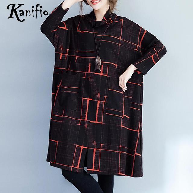 d49c8543152 Kanifio Brand Plus Size Women Clothes Plaid Velvet Dress Lady Casual  Dresses Female Loose Pullover Tunic Vestidios Femininos 6XL