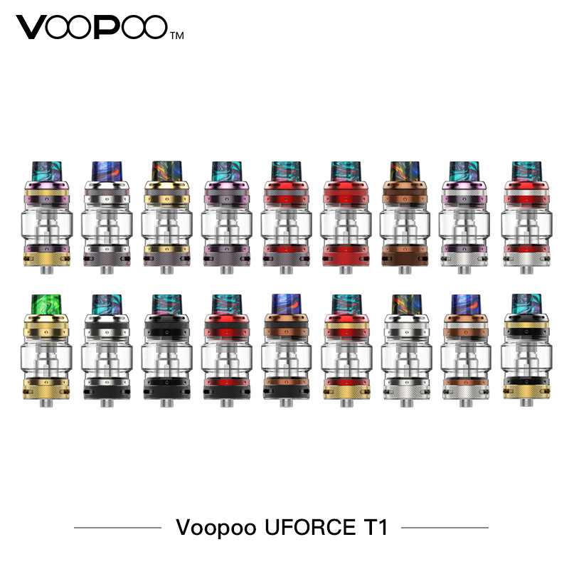 100% Original VOOPOO UFORCE T1 Tank 8ml Atomizer 24.6mm Diameter Easy Top Refill & New Mesh N1 Coil E-cigarette Vape Atomizer