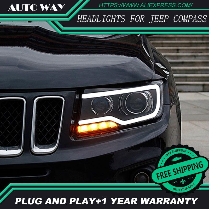 Car Styling Fari Testa Della Lampada per Jeep Compass Compass 2011-2017 LED Del Faro H7 Opzione Angelo Occhio Bi Xenon D2H Hid fascio