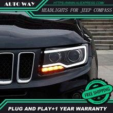 Автомобиль голове стиль лампа для Jeep Компасы Фары для автомобиля Компасы 2011-2017 светодиодные фары H7 D2H HID вариант Ангел глаз би ксенон луч