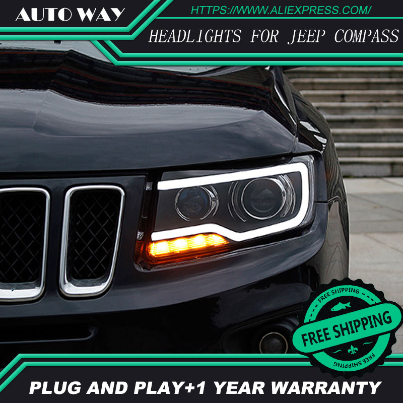 Voiture Style Chef Lampe pour Jeep Compass Phares Compass 2011-2017 LED Phare H7 D2H Hid Option Angel Eye Bi Xénon faisceau