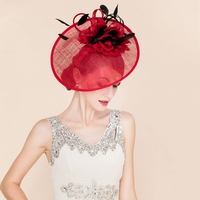 Lady New Fedoras Linen Hat Adult Spring Summer New Eugenia Elegant Party Cap Socialite Banquet Red Hat Woman Church Cap B 8172