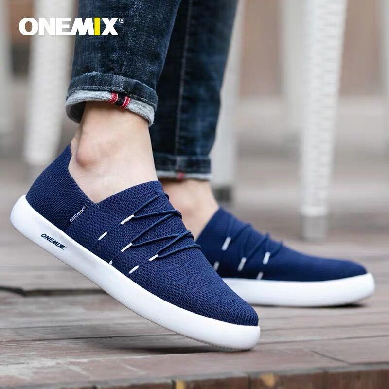Onemix Sneakers for Men Lazy Slip on Running Shoes Brethable Mesh Run Walking Sport Trainer Sneaker Fitness Sport Street Shoes