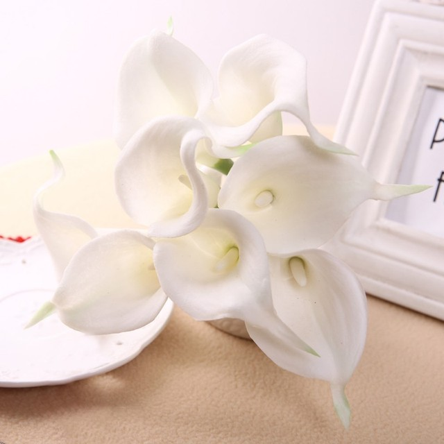 1pcs White Chic Latex Real Touch PU Small Calla Lily Flowers Bouquets  Bridal Wedding Home Decor