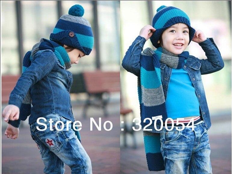 1 комплект шапка и шарф, возрастом от 2 до 8 лет Детская кнопку полоса вязаная шапка+ шарф, зимние теплые шапка многоцветная