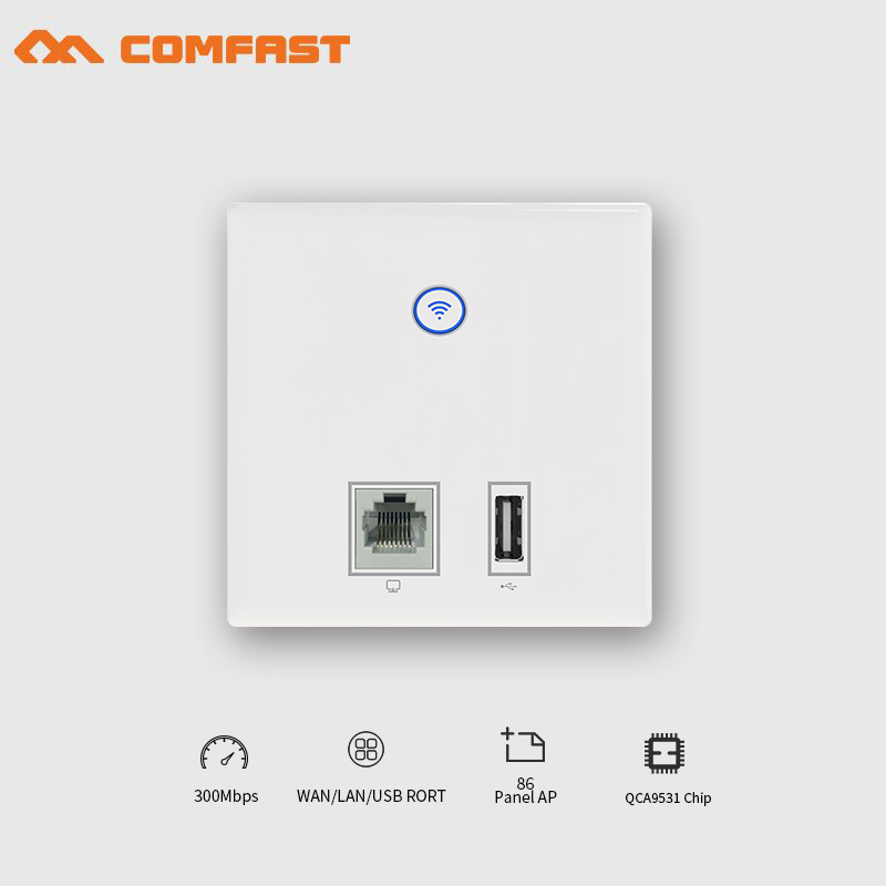 COMFAST Wall Embedded Ap 300Mbps Access Point Wifi 48V Poe Power Supply Hotel Use AP 2*RJ45 Port + Usb Charger Port Wifi Router