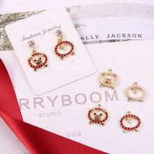 10pcs Cute Rhinestone Pearl Pig Enamel Charms DIY Jewelry Findings Handmade Pendants Earring Decor Accessory Festival Gift FX055