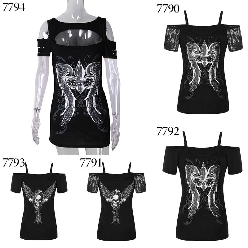 Новый с открытыми плечами топы с открытыми плечами Панк Черный уличной футболки 2018 Крыло Печатных blusa женские летние рубашки WS7790k