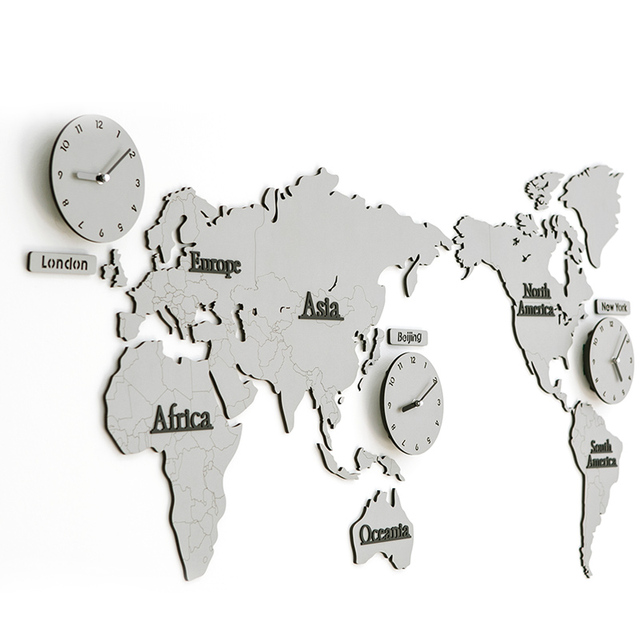 1386305cm white gray world map large decorative wall clock modern 1386305cm white gray world map large decorative wall clock modern design gumiabroncs Gallery