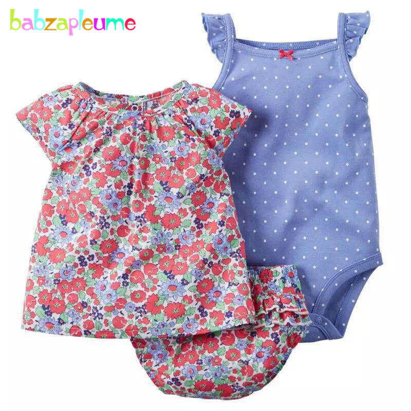 2017 summer style newborn baby girls clothes cute cotton sleeveless t-shirt+shorts+rompers kids infant clothing sets 3pcs BC1426