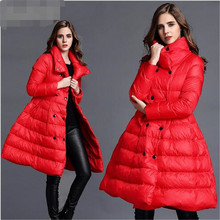 Down jacket Women winter 2016 European Medium long Coat Thicken Keep warm Big pendulum White Duck Down Down Wear Women G1432