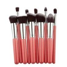 9 PCS Red Professional Makeup Brushes Facial Care Powder Blush Cosmetics Make Up Brush Tools Foundation Brush Tool JU303