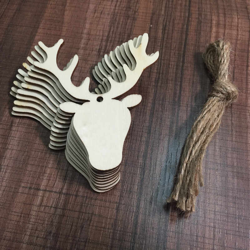 10PCS Wooden Pendants Ornaments Party Decorations For Home DIY Christmas Deer Head Reindeer Xmas Tree Hanging Navidad Kids Gifts
