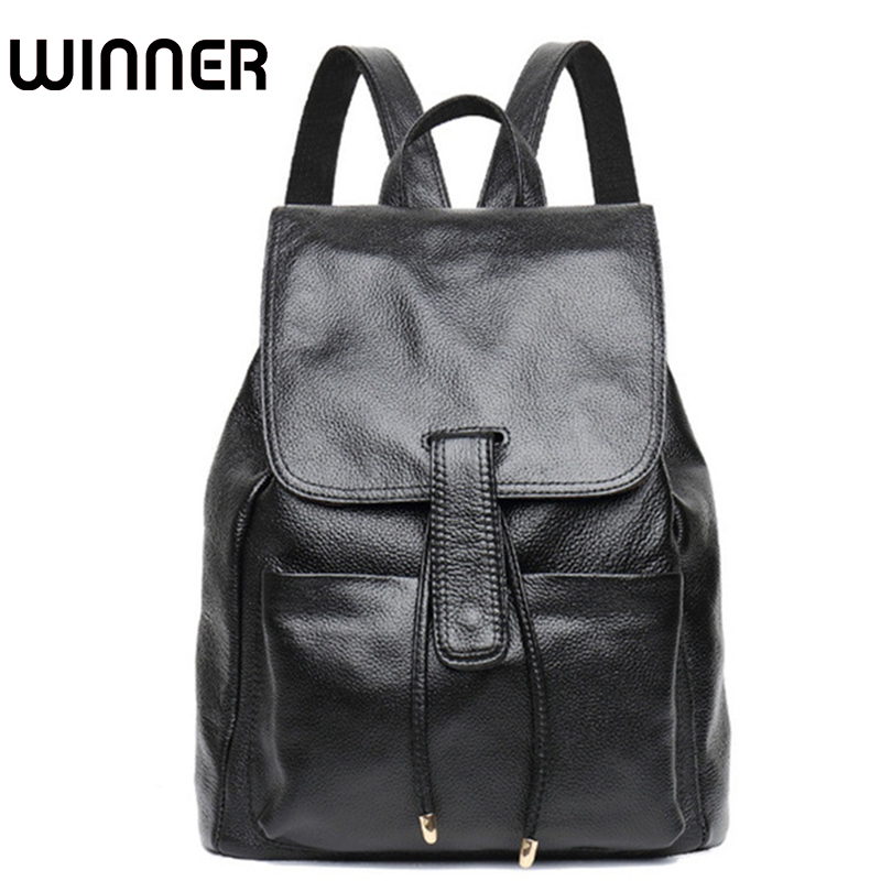 Winner Brand Soft Cow Real Leather String Lady College School Backpacks Luxury Back Bag Genuine Leather Backpack for Women twenty four women backpack real genuine leather back pack casual korean style lady travelling bag zipper luxury brand mochila