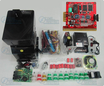1 set Solt game kit Include The 6X PCB Coinhopper coin acceptor buttons harness . etc same as the photo for casino game machine