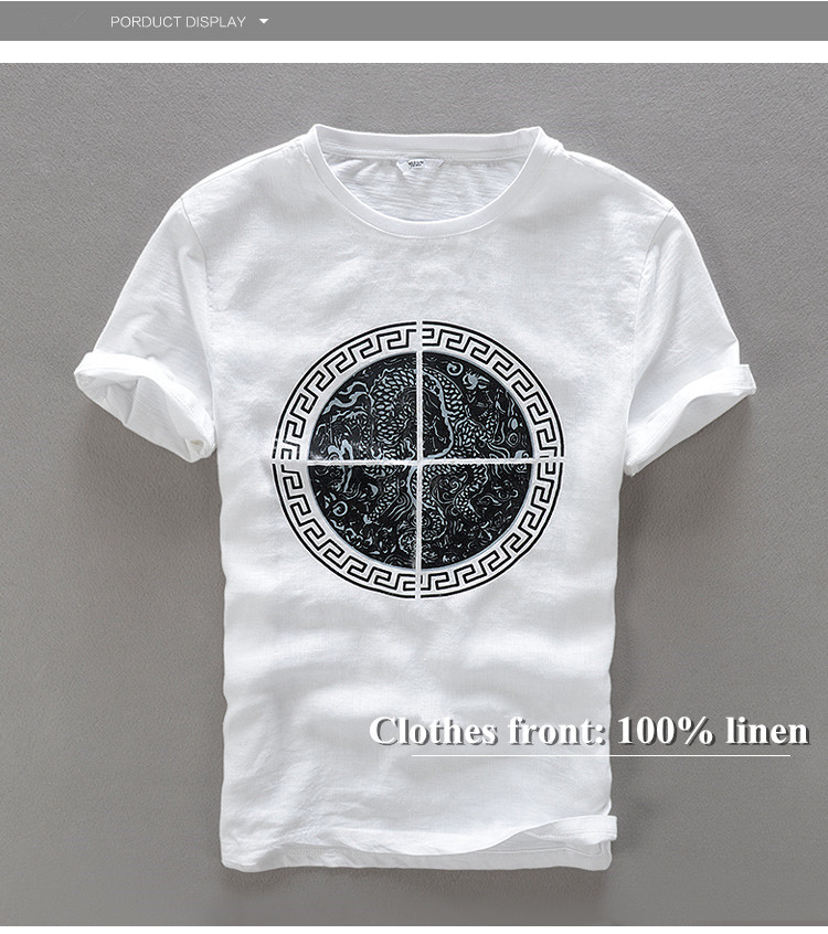 22103de9610 Style asiatique t-shirt à manches courtes hommes coton lin hommes t-shirt  nouveau rond dragon motif imprimé lin hommes t-shirts chemise camiseta