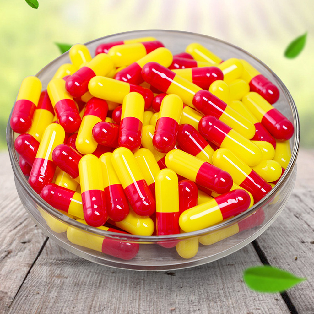1000pcs lot Free shipping red YELLOW gelatin empty capsules hollow gelatin capsules empty pill capsule medicine capsule 0 in Refillable Bottles from Beauty Health