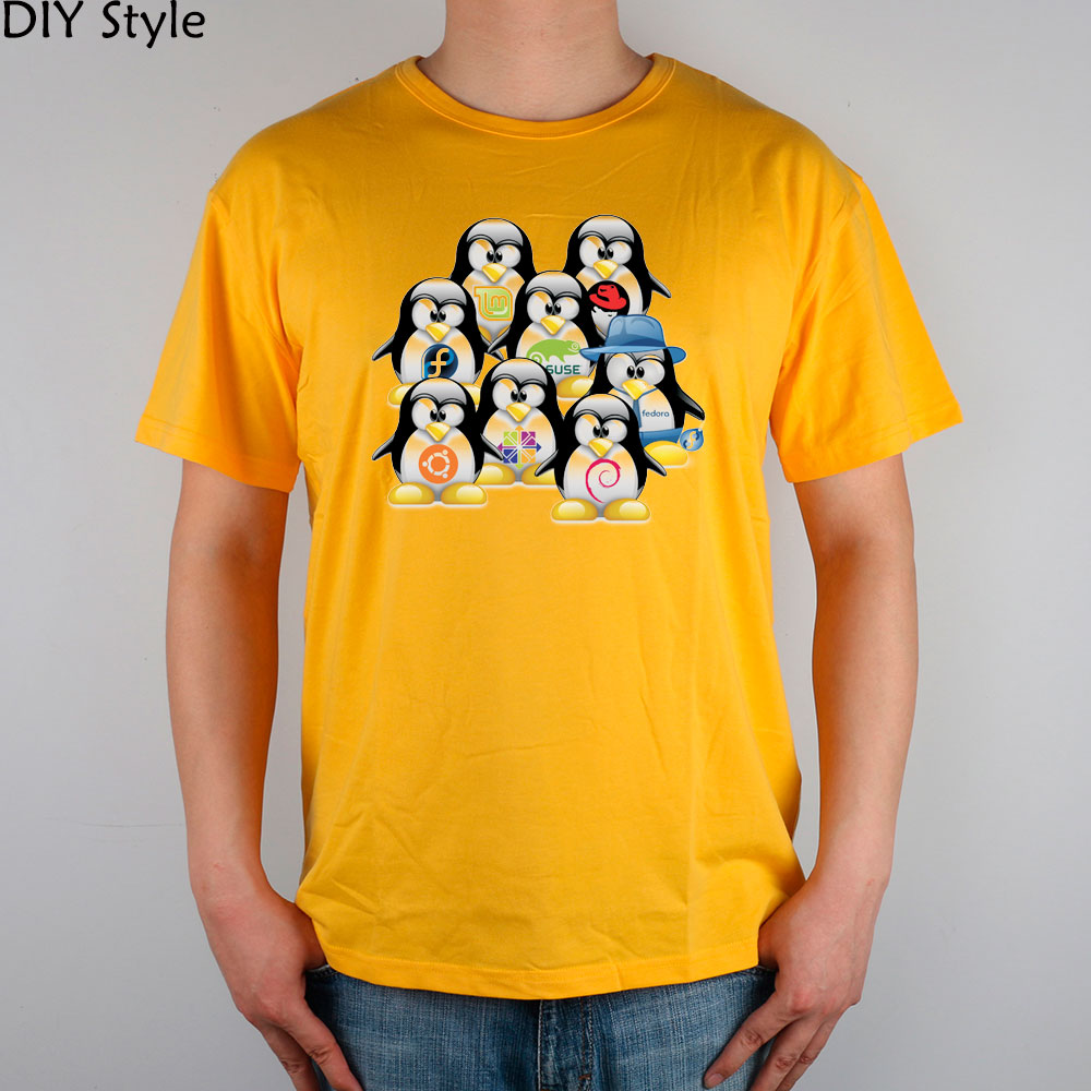 A group of penguins LINUX T-shirt cotton Lycra top