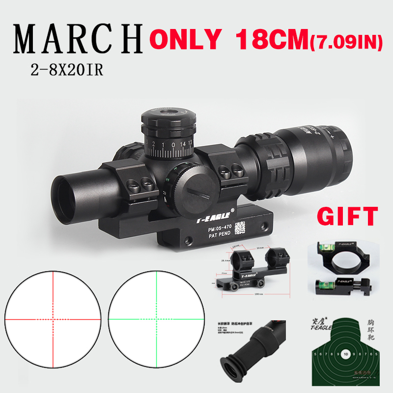 Hunting Optical Sight 2-8x20IR Riflescope Adjustable Green Red Dot Hunting Light Tactical Scope Reticle Optical Rifle Scope