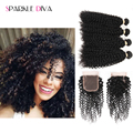 Mongolian Kinky Curly Hair With Closure 4 Bundles With Closure Kinky Curly 8A Cheap Mongolian Curly Hair Bundles With Closure