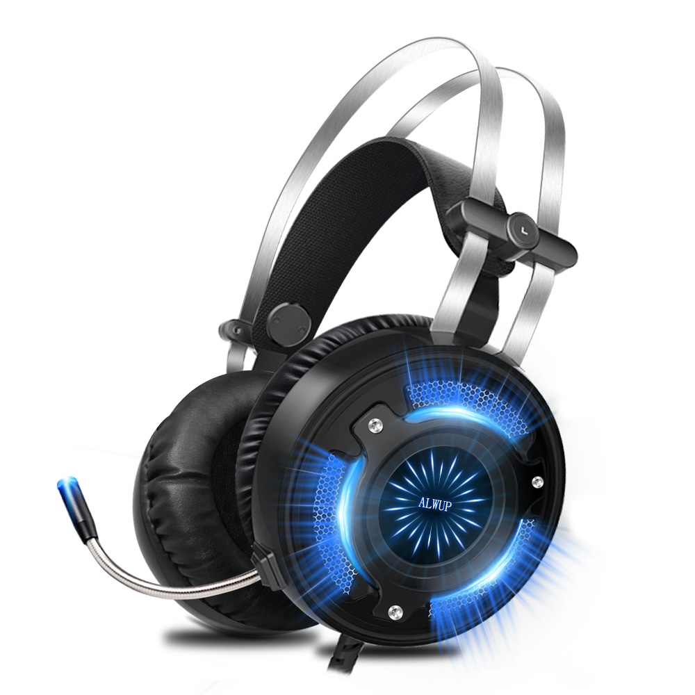 ALWUP6 Gaming headset for PS4 Xbox one with microphone Gaming Headphone for computer PC games with splitter 7 colors LED light