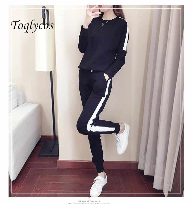 Sports suit female new fashion large size loose slim long clothes trousers student leisure two sets of spring 247