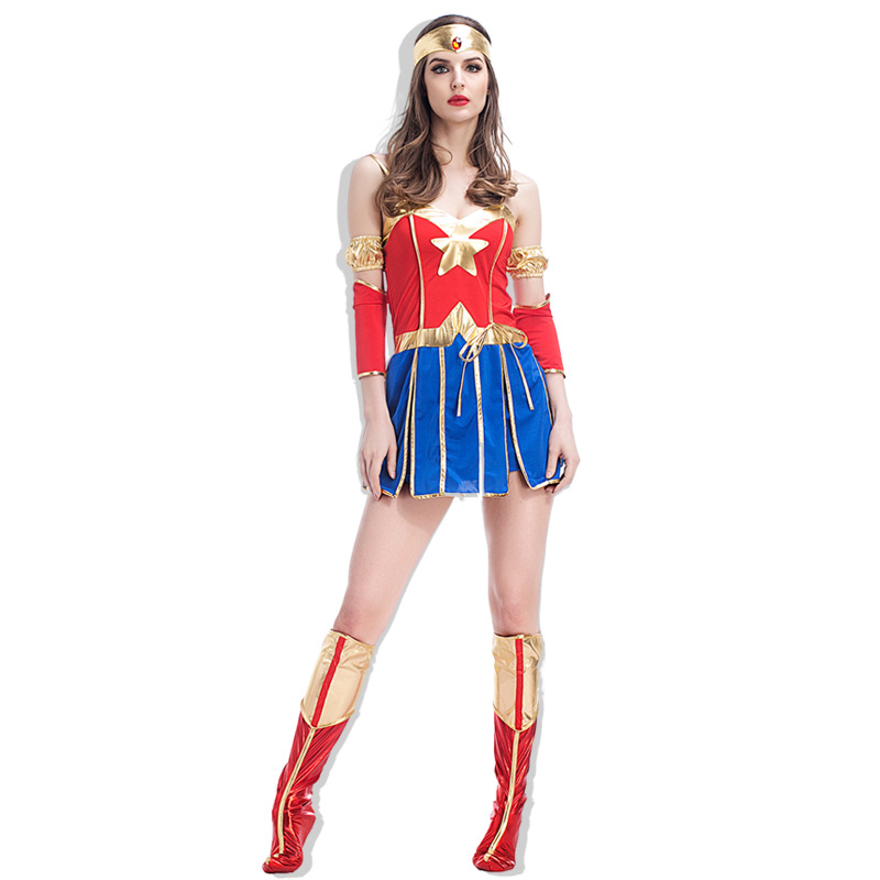 Attractive Full Set Adult DC Superhero Wonder Woman Power Of Justice Babe Fantastic Halloween Costume