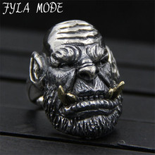 FLA MODE S925 Sterling Silver Fing Ring World of Warcraft Skull Rings For Men Gothic Style Biker Jewelry 33.4MM 22.50G PBG044
