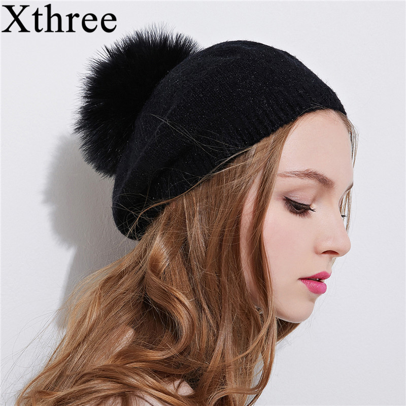 Xthree New Winter Hat For Women Spring Wool Knitted Hat Beret Hat With Ostrich Fur Pom