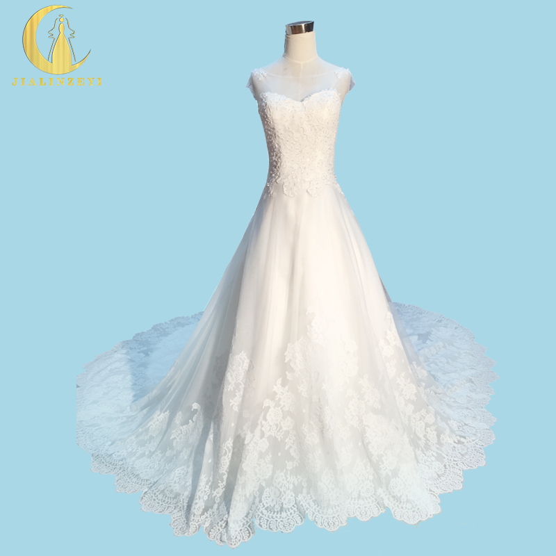 Rhine Real Sample Image Sexy Lace Beads See Through Back A-line Court Trian Wedding Gown wedding dresses