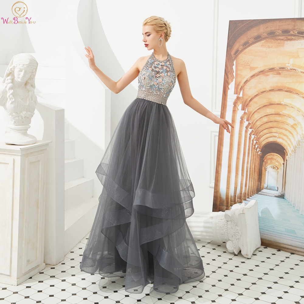 Ruffles Gray Prom Dresses Halter Beading Rhinestone Girl A Line Backless Long Floor Length Formal Evening Gowns Walk Beside You