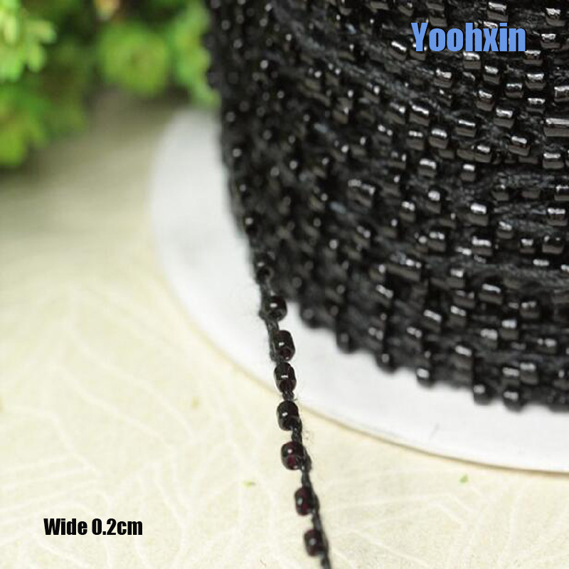 0 2CM Wide HOT Black beads Embroidery flower lace fabric trim ribbon DIY sewing applique collar cord dress wedding guipure decor in Lace from Home Garden