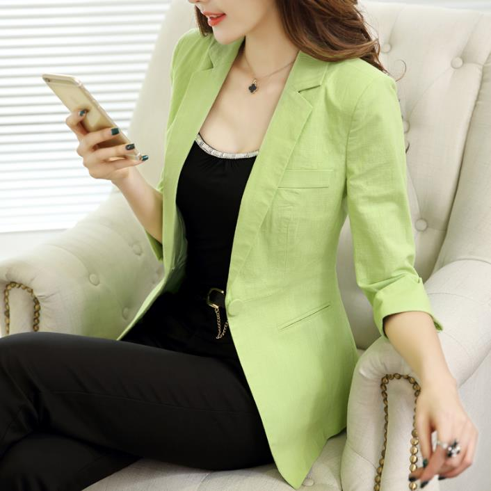 Linen Small Siut Women Office Lady Formal Casual Coat  Three Quarter Sleeve Cotton Blazer Tops Plus Size 4XL