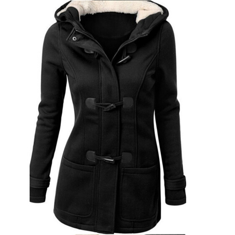 Fashion long   trench   coat for women spring winter overcoat female long hooded horn button outwear trenchcoat chaquetas mujer