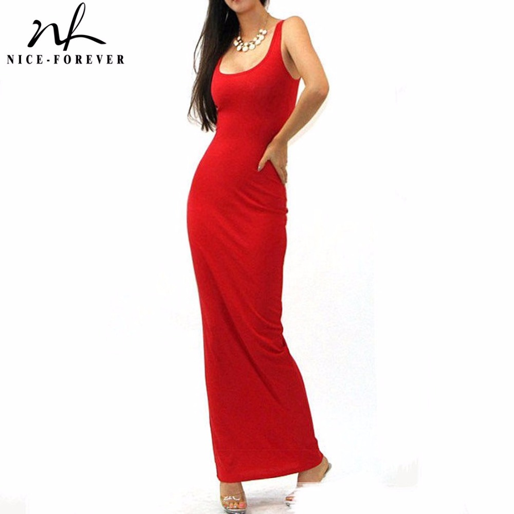Nice-forever Sexy sleeveless solid tank BASIC scoop neck Ankle Length Racerback casual long maxi Summer beach Bodycon dress 801