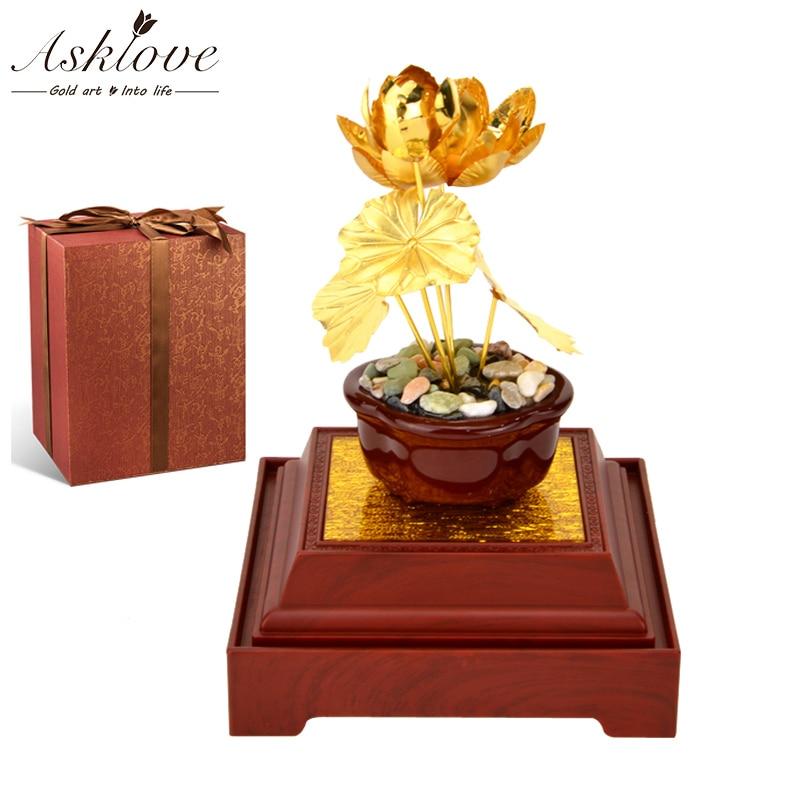 Zen Lotus fleur bonsaï 3D plantes artificielles Fengshui 24K feuille d'or ornements fleur de Lotus bonsaï décor à la maison de luxe cadeaux artisanat