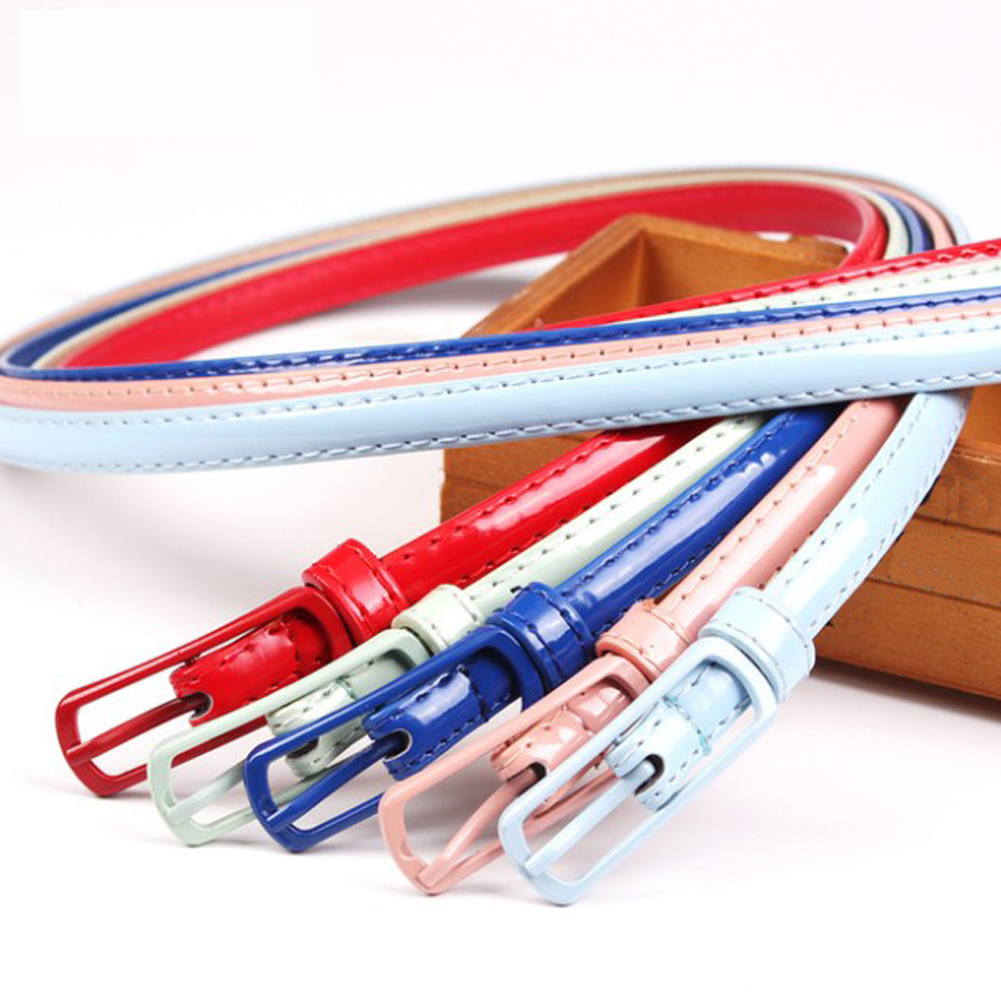Thin Leather   Belt   Female 2019 12 Colors Red Bule Pink White Yellow Waist   Belts   for Women Dress Strap Patent Leather Thin   Belt