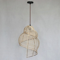 Hand knitted Big conch wicker pendant lamp Led lighting
