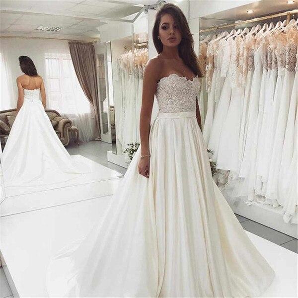Princess Wedding Dresses 2019 Elegant Satin A-Line Ivory Bridal Gowns Sweetheart Vestido De Novia Robe De Mariee Boda Gelinlik