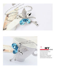 Blue Teardrop Shape Austrian Crystal Butterfly Pendant Long-necklace Jewellery Women Costume Jewelry Bijoux Wedding Accessories
