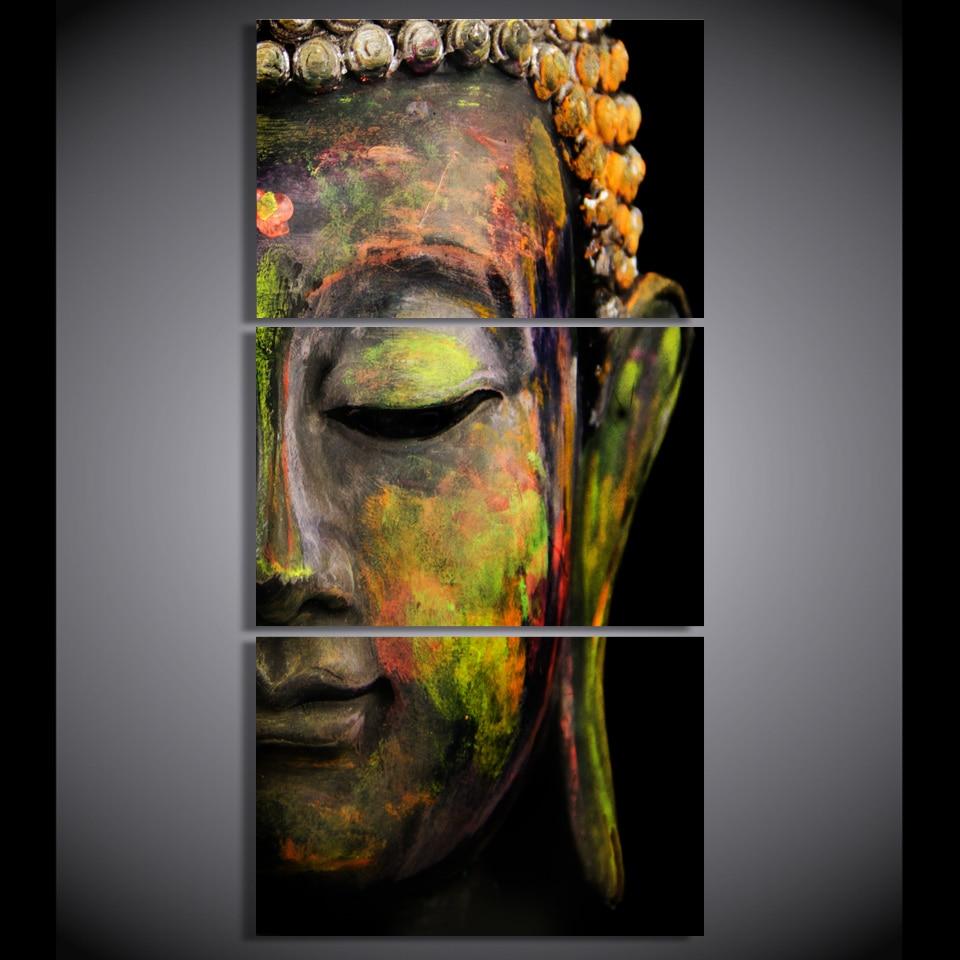 Hd printed 3 piece canvas wall art buddha meditation for Buddha mural paintings