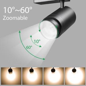 Image 1 - トラックランプズーム可能な12ワット/20ワット/30ワット調整可能なビーム角cob ledレール服靴ショップ展示ギャラリースポットライトスポットライト