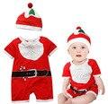 2016 meninos Macacão Chapéu Do Bebê Define Manga Curta de Santa Do Boneco de neve de Natal X'mas Presente a Roupa Do Bebê Tampas de Corpo Terno outfits