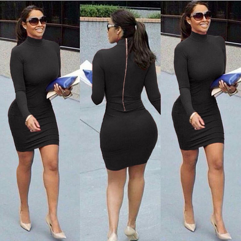 11f1ea5f6 3 cores mulheres vestidos de camisa t Verão 2018 estilo de volta zipper  camisola de gola alta vestido bodycon desgaste bainha completo manga  vestidos de ...