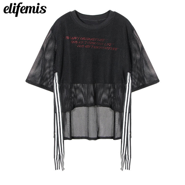 37802281083 Black Fishnet Shirt Women Short Sleeve Mesh Tops Sexy See Through Patchwork  Fake Two-Pieces Tee Shirt Ribbons Plus Size