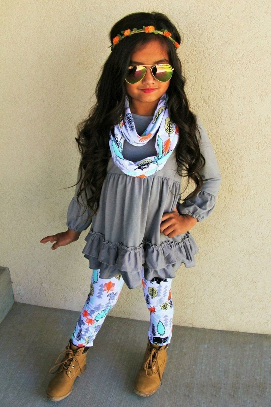 c556005d9c5ab AU Fashion Toddler Kid Girl Tunic Dress Top Floral Pants 3pcs Clothes Outfit  Set