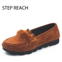 STEPREACH Brand Shoes Woman Flats Women Zapatos Mujer Chaussures Femme Sapato Feminino Ladies Loafers Faux Fur