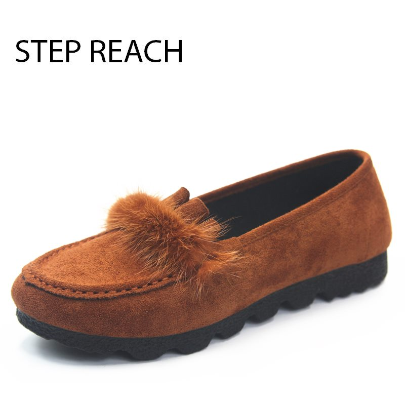 STEPREACH Brand shoes woman Flats women zapatos mujer chaussures femme sapato feminino ladies loafers Faux Fur solid slip-on flat shoes woman slip on loafers pointed toe breathable fur women shoes 2018 zapatos mujer casual ladies shoes sapato feminino