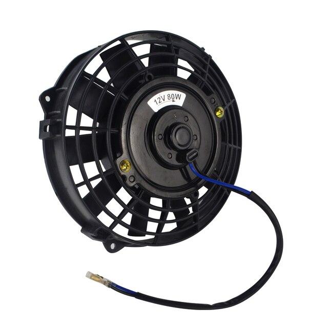 "Free Shipping 7 Inch Universal 12V 80W Slim Reversible Electric Radiator AUTO FAN Push Pull With mounting kit Type I 7"" FANI7"